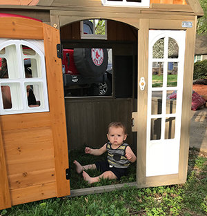 Jaxon in his new playhouse